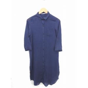 3cfb7f080dc10 ザンパ ZAMPA ワンピース シャツ ロング 無地 シンプル 薄手 綿 コットン 七分袖 M 紺 ネイビー  TT15 レディース 中古  ベクトル