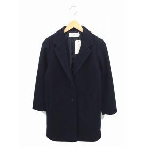 ショコラフィネローブ chocol raffine robe タグ付き コート チェスター 無地 シンプル ウール混 長袖 M 紺 /TT17 レディース【中古】【ベクトル 古着】 vectorpremium