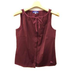 バーバリーブルーレーベル タンクトップ カットソー シャツ スキッパー ノースリーブ リボン 刺繍 ...