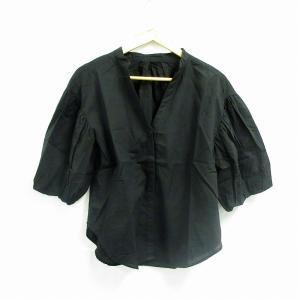 シェアパーク SHARE PARK カットソー ブラウス 七分袖 スキッパー 1 黒 /NM レディ...