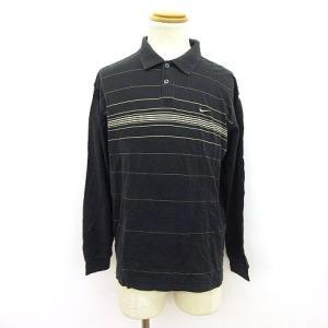 ナイキゴルフ NIKE GOLF ポロシャツ 長袖 ボーダー ロゴ L 黒 ブラック ☆K☆ /yo...