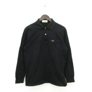 e78a97fd0ff6 クロコダイル CROCODILE ポロシャツ 長袖 ワンポイント ロゴ M 黒 ブラック ☆K☆ /.
