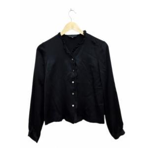 スリッツ SLITZ ブラウス シャツ ノーカラー 長袖 絹 シルク 38 黒 ブラック /FH3 ...
