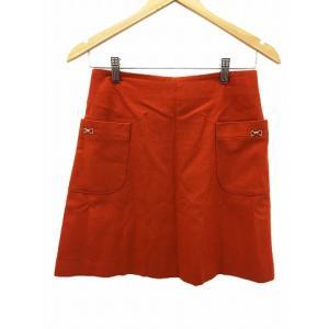 ロペ ROPE スカート 台形 ミニ リボン ウール 38 オレンジ /RN52 レディース 【中古...