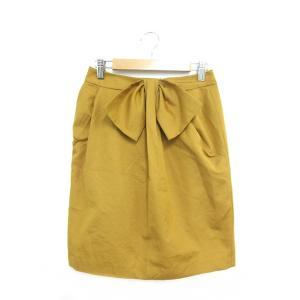 ジェイフェリー J.FERRY スカート 台形 ひざ丈 リボン 38 黄色 イエロー /SU347 ...
