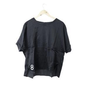 ニコアンド Niko and.. カットソー Tシャツ クルーネック 刺繍 スリット ロールアップ 半袖 黒 ブラック /M2N9 メンズ【中古】【ベクトル 古着】