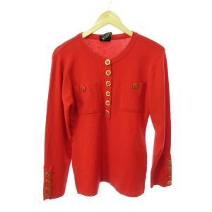 ビッキー VICKY セーター ニット 長袖 クルーネック ウール 赤 レッド ゴールド /SU13...