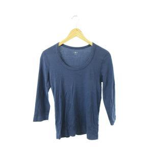 スリードッツ three dots Tシャツ カットソー クルーネック 七分袖 M 青 ブルー /T...