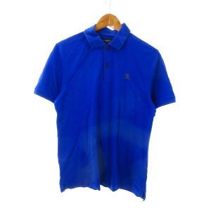 【中古】バーバリーゴルフ BURBERRY GOLF ポロシャツ 半袖 鹿の子 ロゴ 3 青 ブルー...