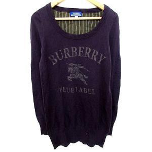 バーバリーブルーレーベル BURBERRY BLUE LABEL ニット セーター 長袖 プリント ...