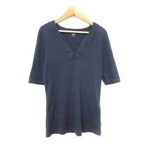 【中古】スリードッツ three dots Tシャツ カットソー 五分袖 M 紺 ネイビー /AAM...