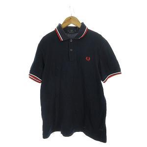 【中古】フレッドペリー FRED PERRY ポロシャツ 半袖 ヘンリーネック 刺繍 ライン 38 ...