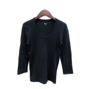 【中古】スリードッツ three dots カットソー Tシャツ Uネック 七分袖 S 黒 ブラック...