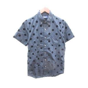 【中古】フレッドペリー FRED PERRY シャツ ボタンダウン ドット 半袖 XS 紺 ネイビー...