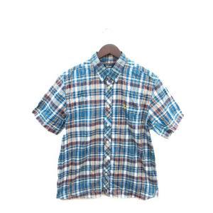 【中古】フレッドペリー FRED PERRY シャツ 半袖 チェック L 青 ブルー /ST メンズ...