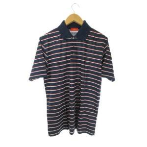 未使用品 ジムトンプソン JIM THOMPSON ポロシャツ 半袖 ボーダー M 紺 ネイビー /...