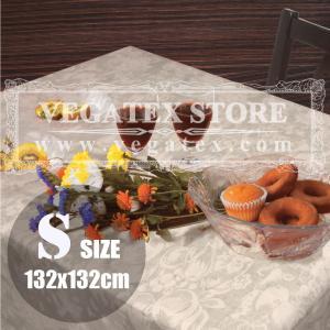テーブルクロス ビニール おしゃれ VEGATEX オーチャード グレージュ<S>正方形132×132cm|vegatex-store