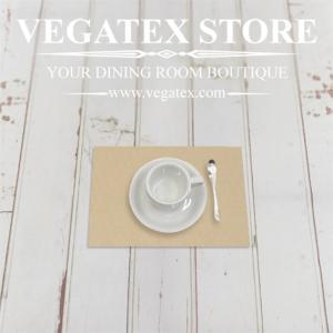ランチョンマットのハーフサイズ ティーマット 撥水 シンプル 布 VEGATEX キャンバス モカ|vegatex-store