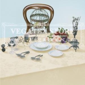 テーブルクロス 撥水 布 VEGATEX ソレイユドール バニラクリーム<M>140×180cm|vegatex-store