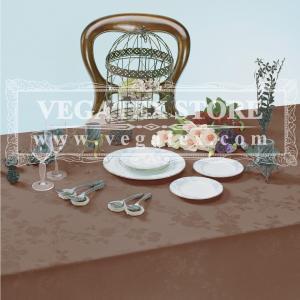 テーブルクロス 撥水 布 VEGATEX ソレイユドール ココア<M>140×180cm|vegatex-store