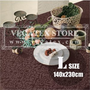 テーブルクロス 撥水 布 VEGATEX マルベリー チョコレイト<L>140×230cm vegatex-store