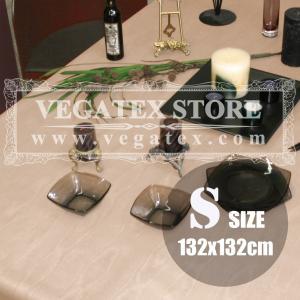 テーブルクロス ビニール おしゃれ VEGATEX モアレ サーモン<S>正方形132×132cm|vegatex-store