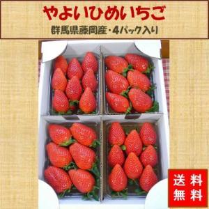 送料無料 やよいひめ 群馬県産 いちご 4パック 農家直送|vege-garden-asahi