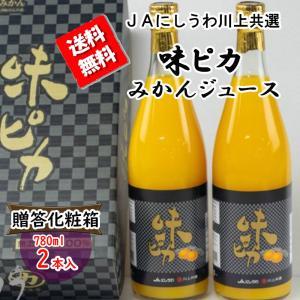 ジュース 贈答 味ピカジュース 味ピカ 780ml × 2本 みかんジュース 温州みかん 送料無料 贈答箱 vegetable-fruit-pro