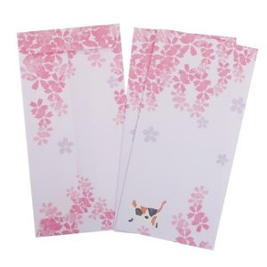 梅屋 長封筒 3枚セット ぽち袋 桜と猫 アクティブコーポレーション 金封 和雑貨 velkommen