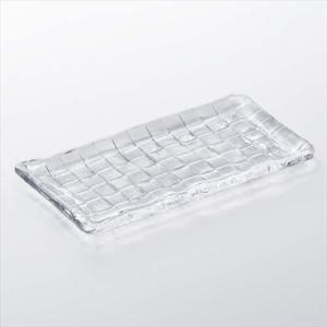 レクタングルプレート260(3枚セット) 長方形皿 ダブルエフ クロス クリア アデリア 26×13×1.6cm ギフト食器|velkommen