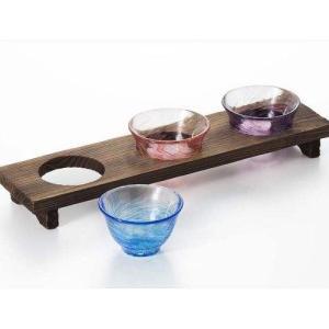 木台付ききき酒セット 三味三昧 ガラスお猪口 庄内craft 花つづり 風 アデリア|velkommen