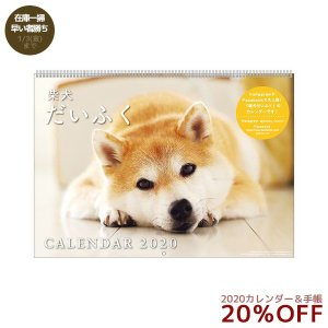 2020年 犬カレンダー 柴犬だいふく 壁掛け スケジュール いぬ APJ 364×257mm 動物 写真 書き込み|velkommen