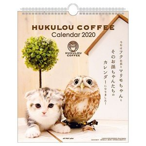 HUKULOU COFFEE フクロウコーヒー 壁掛け カレンダー 2020年 ねこ フク社長とマリモちゃん APJ 190×225mm 動物 写真 書き込み|velkommen