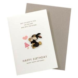 ウッドパーツバースデーカード バンビ とんすけ ディズニー誕生日おめでとうメッセージカード バースデー 誕生日ギフト プレゼント|velkommen