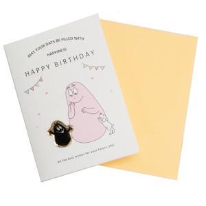 グリーティング カード ピンバッジ付き バースデーカード バーバパパ バーバモジャ APJ 誕生日祝い|velkommen