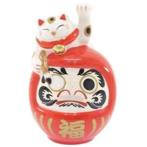 福よせ招き猫 開運置き物 オブジェ 達磨 ダルマ ねこ 愛龍社 陶器製 可愛い インテリア雑貨 プレゼント 結婚祝い 引越し祝い|velkommen