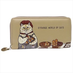 ラウンドファスナーロングウォレット レディース長財布 世にも不思議な猫世界 アートウエルド KORIRI お洒落 ギフト雑貨 velkommen