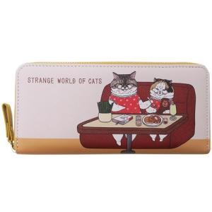 レディース 長財布 ラウンド ファスナー ロングウォレット 世にも不思議な猫世界 ベージュ アートウエルド 長札入れ velkommen