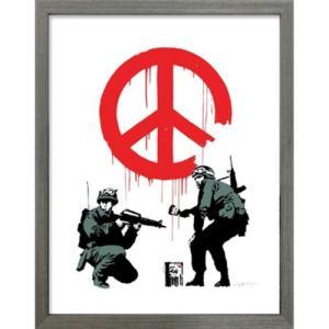 アートフレーム Banksy Peace Soldiers バンクシー 美工社 IBA-61733 30.5×38×3.2cm|velkommen