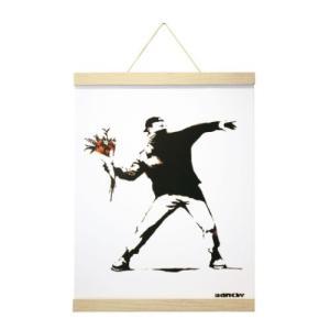 ポスター & ポスターハンガー セット Banksy バンクシー Molotov(Natural Hanger style) 美工社|velkommen