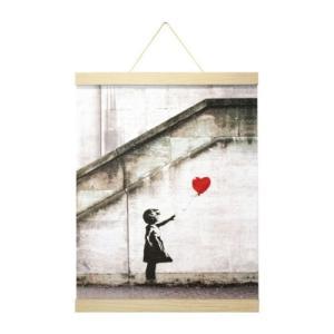 ポスター & ポスターハンガー セット Banksy バンクシー Red Balloon(Natural Hanger style) 美工社 IBA-61992|velkommen