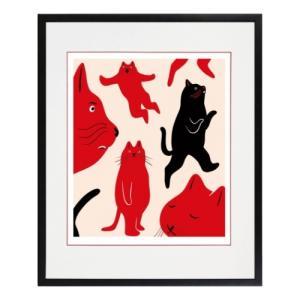 アートフレーム 動物画 MEOMEO 猫は自由に生きている ねこ 美工社 ZMM-61890 ギフト 額付き velkommen