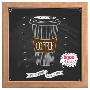 カフェ インテリア サイン フレーム キャンバス アート ポスター 額付  コーヒーカップ 美工社 22×22cm velkommen