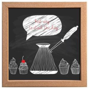 カフェ インテリア サイン フレーム キャンバス アート ポスター 額付  カップケーキ 美工社 22×22cm お洒落 cafe チョークアート風 velkommen