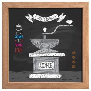 カフェ インテリア サイン フレーム キャンバス アート ポスター 額付 コーヒーミル 美工社 22×22cm お洒落 cafe チョークアート風 velkommen