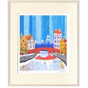 アートフレーム 額装品 はりたつお 赤い煉瓦橋 美工社 36.5×44×2cm ギフト 300枚限定 額付き velkommen