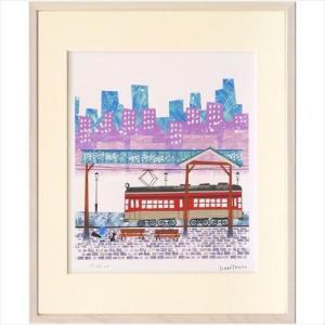 アートフレーム 額装品 はりたつお 路面電車と雪の街 美工社 36.5×44×2cm ギフト 300枚限定 額付き velkommen