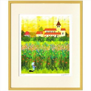 アートフレーム 額装品 はりたつお ライヒェナウの花畑 美工社 36.5×44×2cm ギフト 300枚限定 velkommen