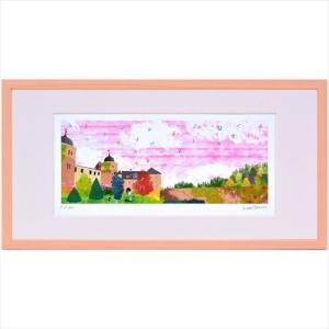 額装品 アートフレーム はりたつお 秋空のサバブルク城(S) 美工社 41.8×21.8×2cm ギフト 300枚限定 額付き velkommen