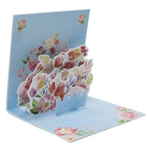 グリーティングカード ポップアップ ニカード フラワー ハッピーバースデー BL クローズピン 誕生日おめでとう 封筒付き お花|velkommen